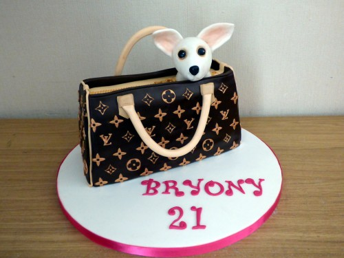 louis vuitton hand bag with white chihuaua novelty birthday cake