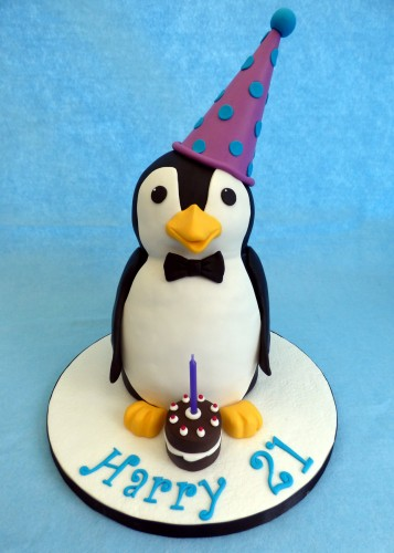 party penguin birthday cake