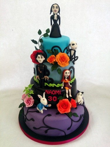 tim burton inspired 4 tier celebration cake