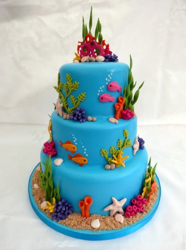 3 tier underwater themed wedding cake