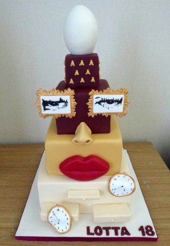 Dali Inspired 4 tier birthday cake