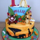 Lion king inspired 2 tier birthday cake simba pumaa timon