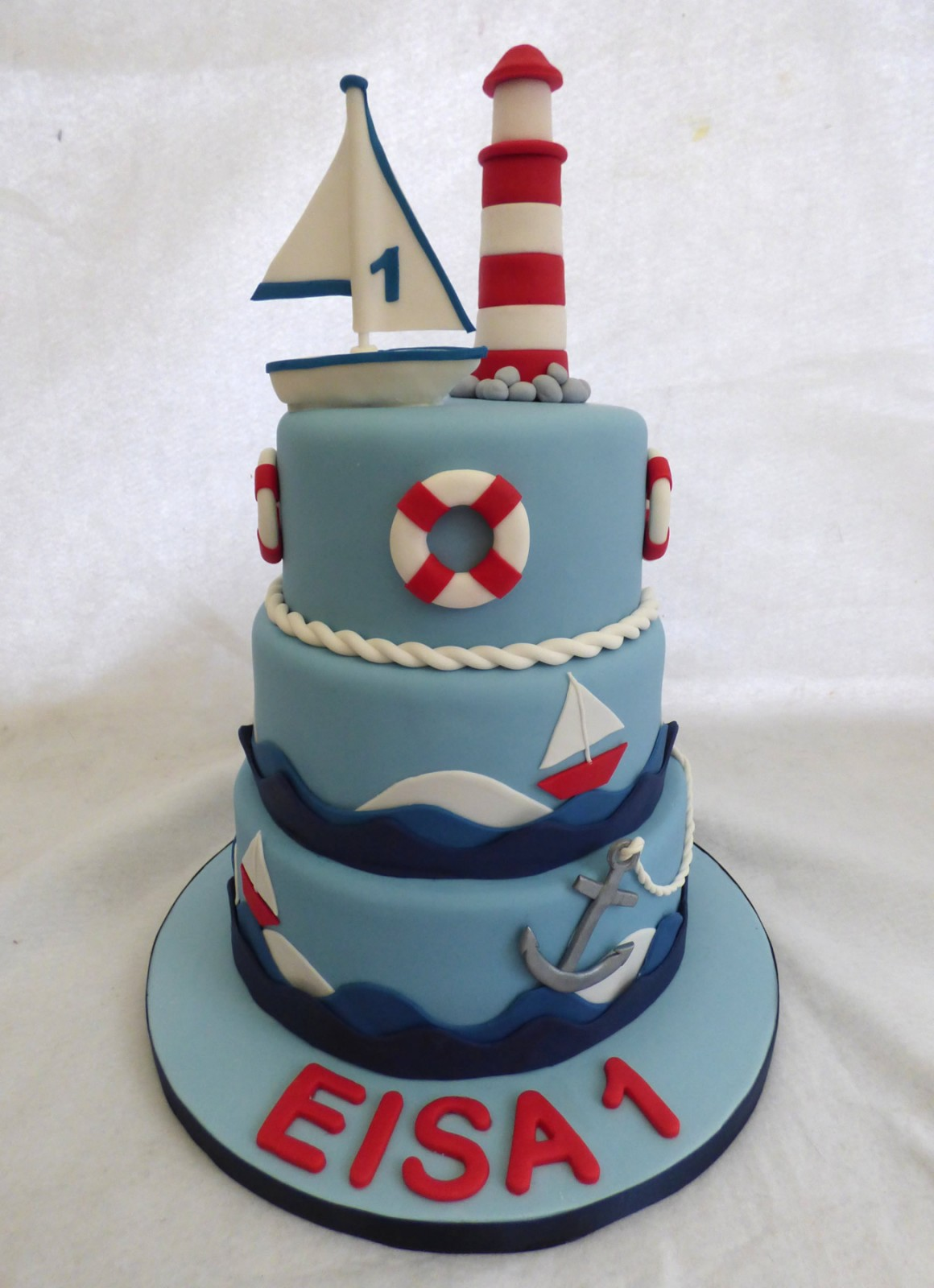 Pleasant 3 Tier Nautical Themed Birthday Cake With A Lighthouse Susies Cakes Personalised Birthday Cards Sponlily Jamesorg