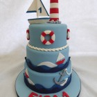Nautical themed 3 tier birthday cake