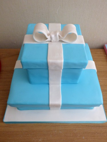 Tiffany inspired proposal cake 2 tier