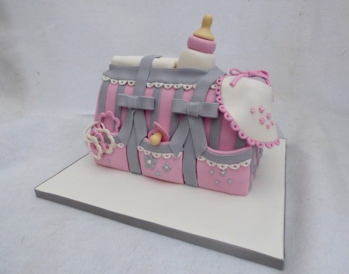 baby shower baby bag cake