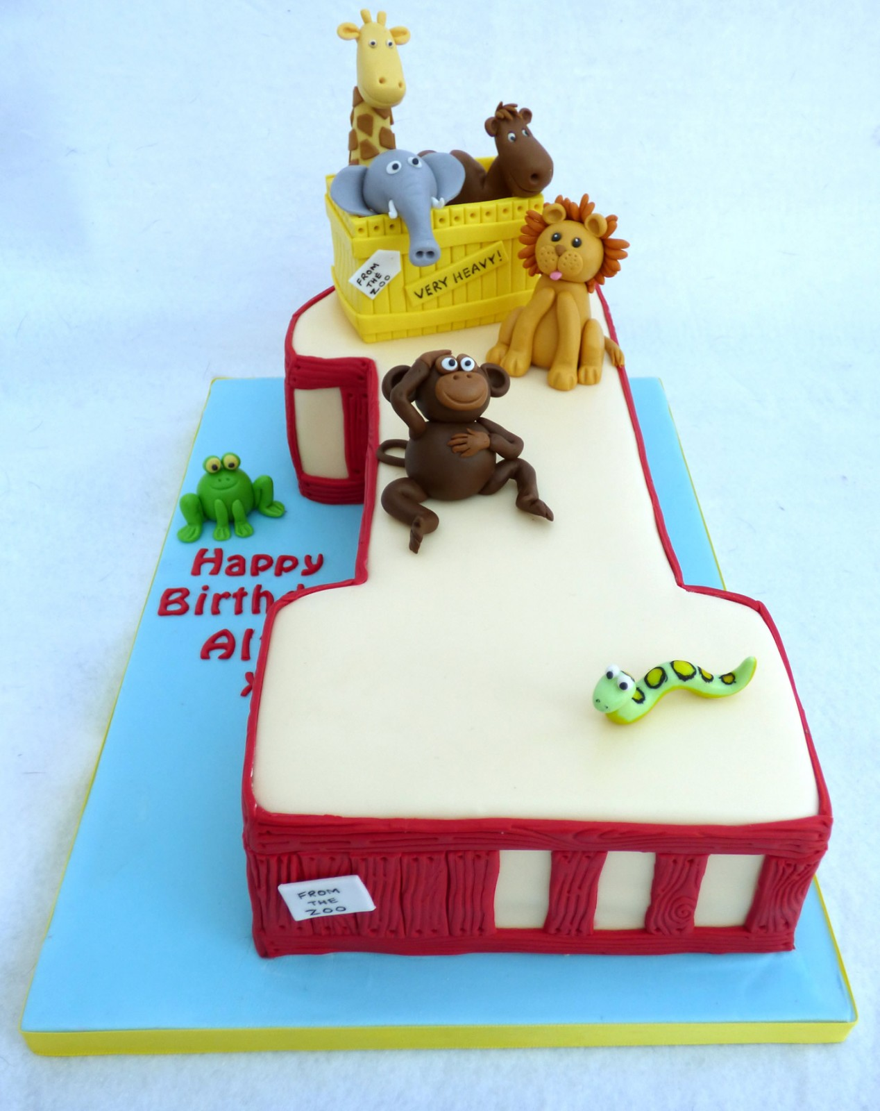 Deer Zoo 1st Birthday Cake Susies Cakes