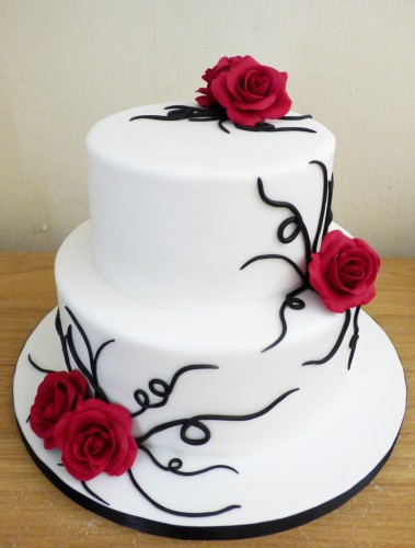 2-tier-black-and-red-rose-themed-wedding-cake-poole