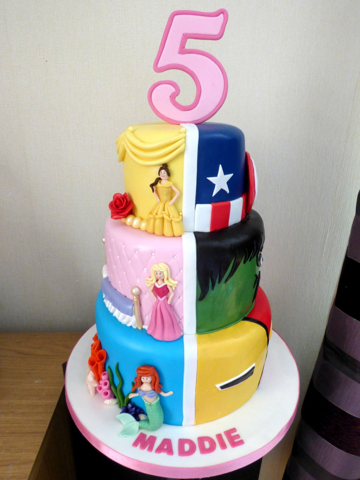 Fine 3 Tier Disney Princesses And Marvel Superheroes Birthday Cake Personalised Birthday Cards Veneteletsinfo