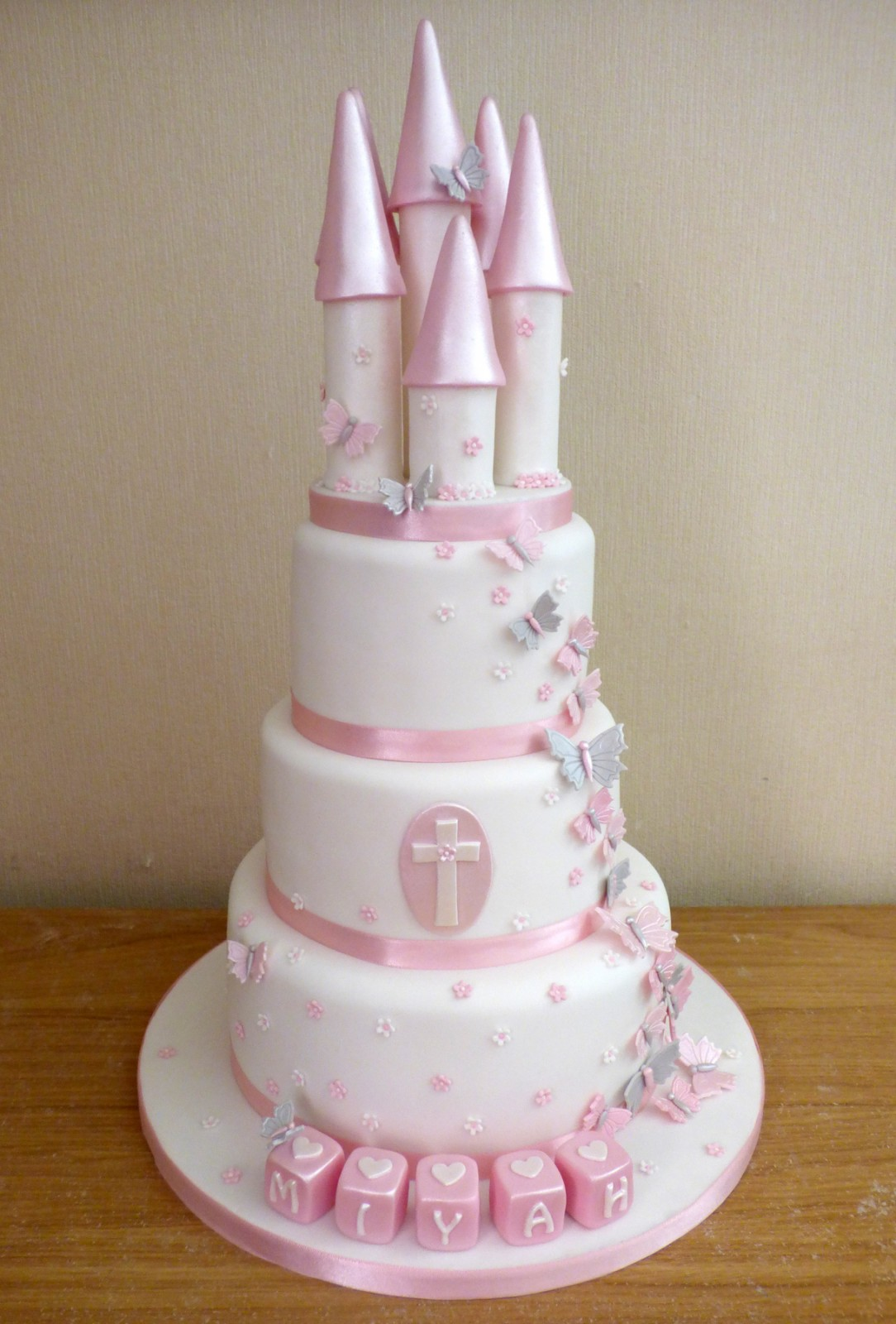 3 Tier Pink And White Princess Castle Baptism Birthday