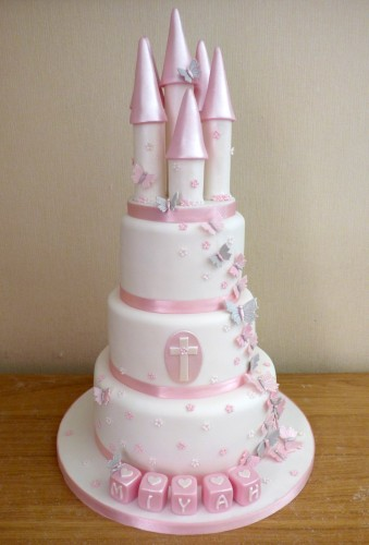 3-tier-pink-and-white-princess-castle-christening-babptism-cake