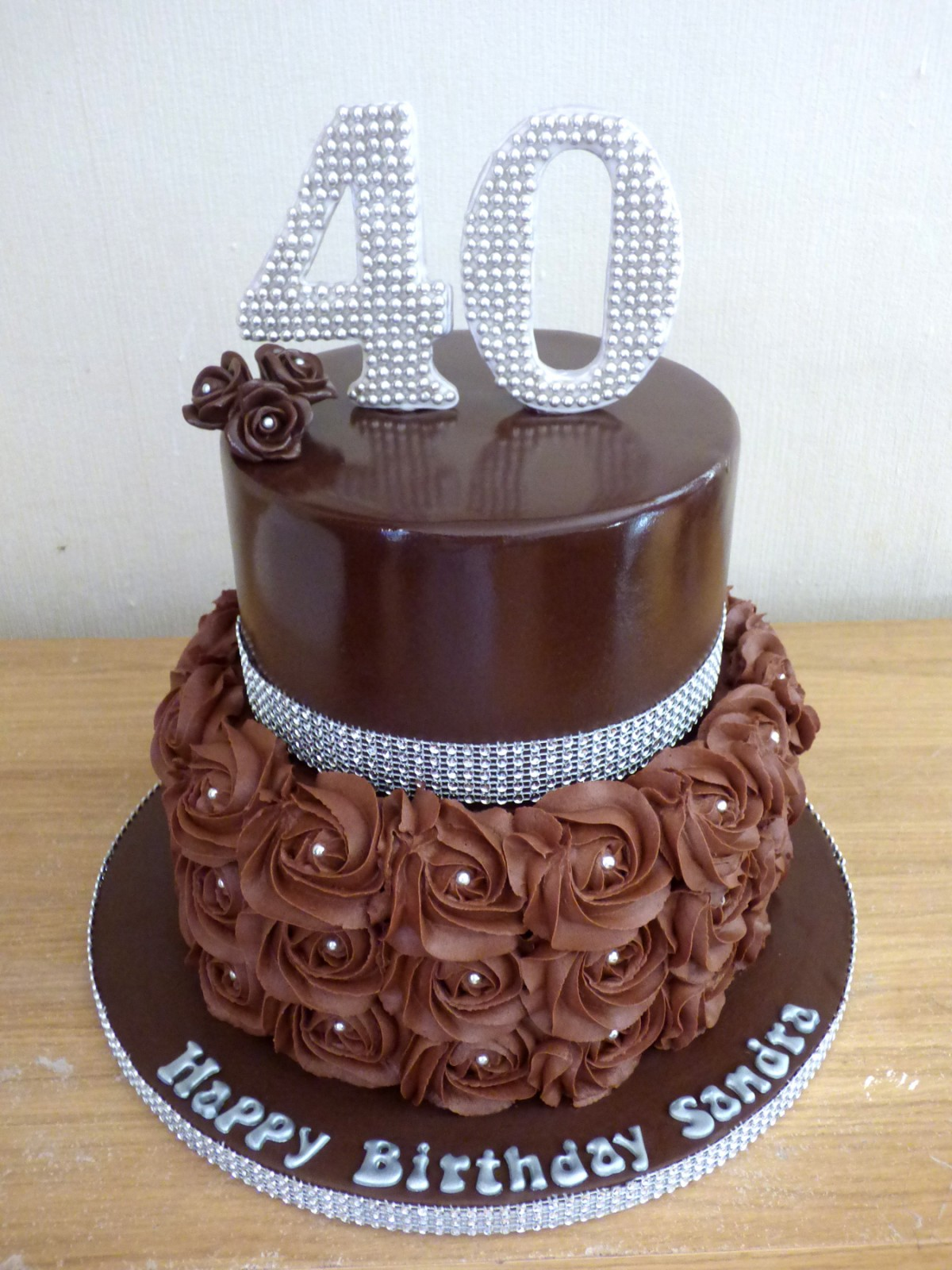 Chocolate and Bling 2 Tier Birthday Cake Susie s Cakes