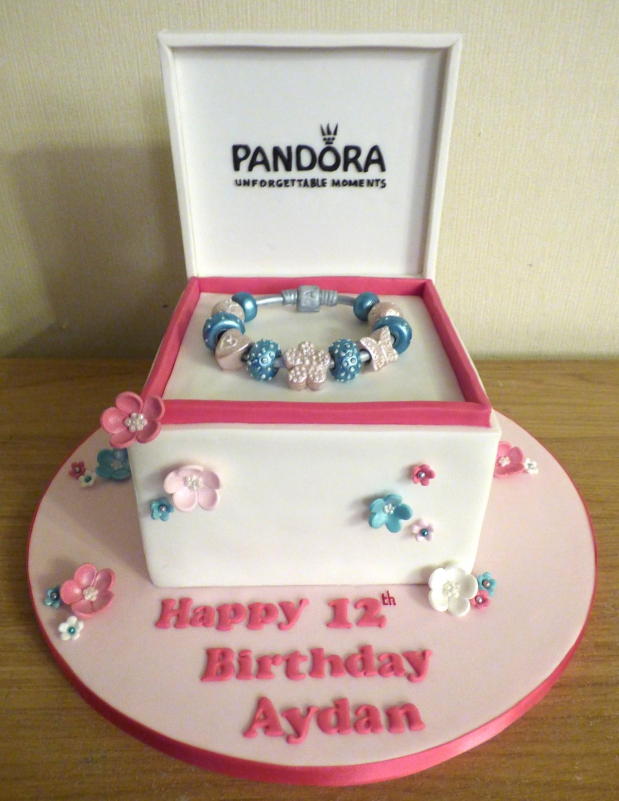 Surprising Pandora Gift Box And Charm Bracelet Birthday Cake Susies Cakes Birthday Cards Printable Opercafe Filternl