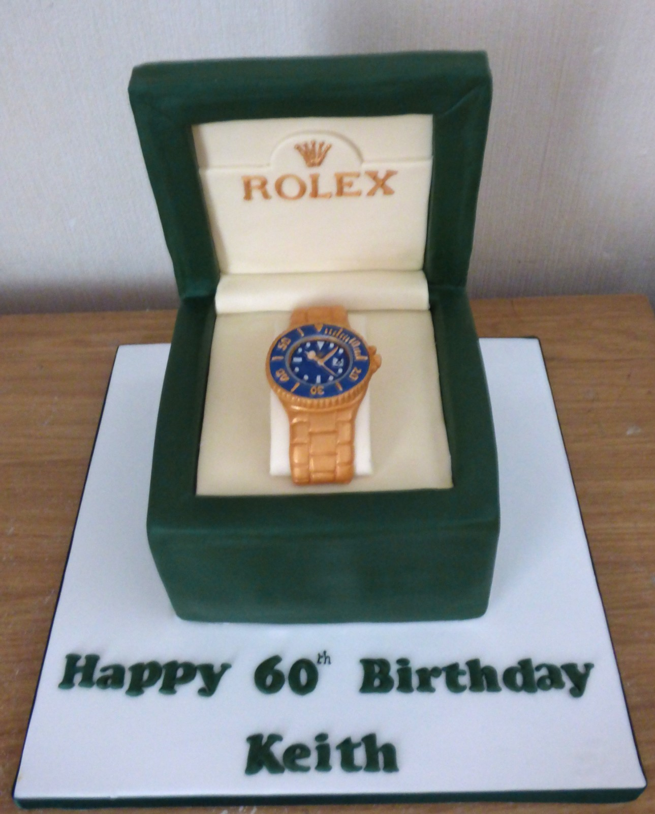 Tremendous Gold Blue Faced Rolex Watch In A Box Birthday Cake Susies Cakes Personalised Birthday Cards Arneslily Jamesorg