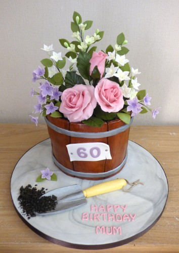 tub-of-sugar-flowers-birthday-cake-