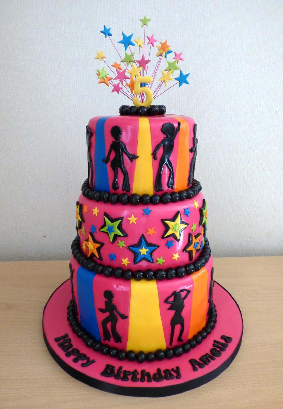 2 Tier Disco Themed Birthday Cake Susies Cakes