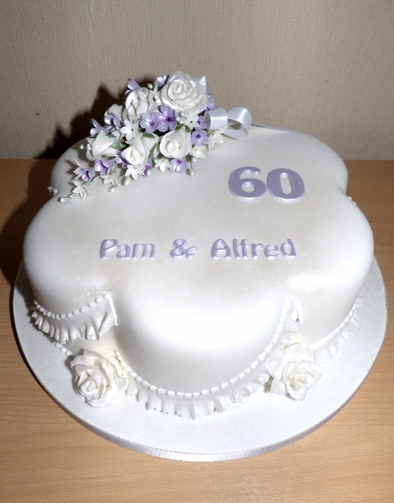 Diamond Wedding Anniversary Cake with Sugar Flower Spray