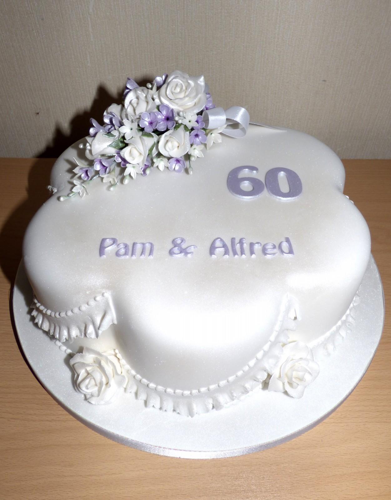 Diamond Wedding Anniversary Cake with Sugar Flower Spray « Susie\'s Cakes