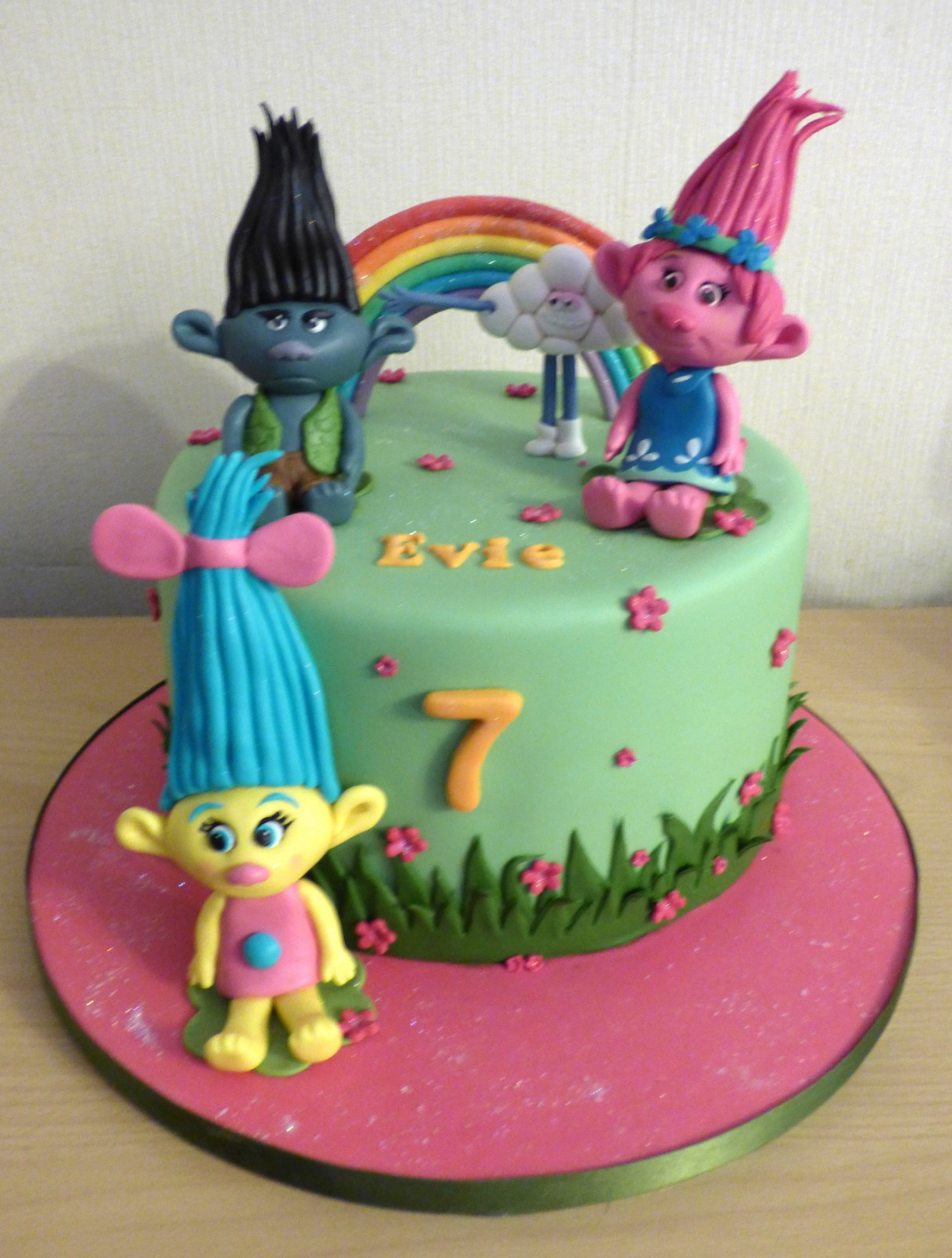 Trolls Themed Birthday Cake