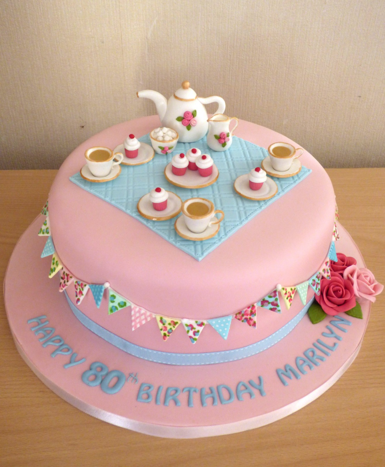 Vintage Tea Party Birthday Cake