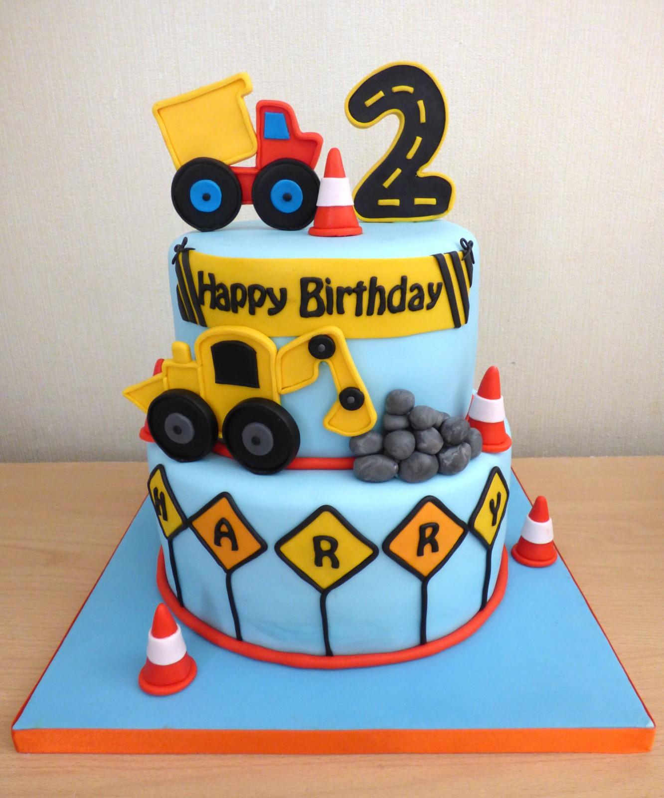 Pleasant 2 Tier Boys Construction Birthday Cake Susies Cakes Funny Birthday Cards Online Alyptdamsfinfo