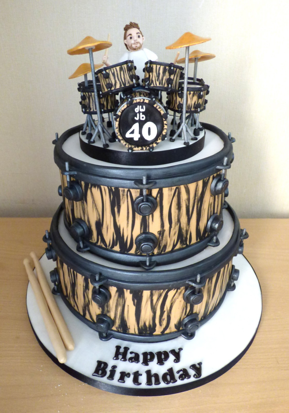 2 Tier Drummer And Drum Kit Birthday Cake