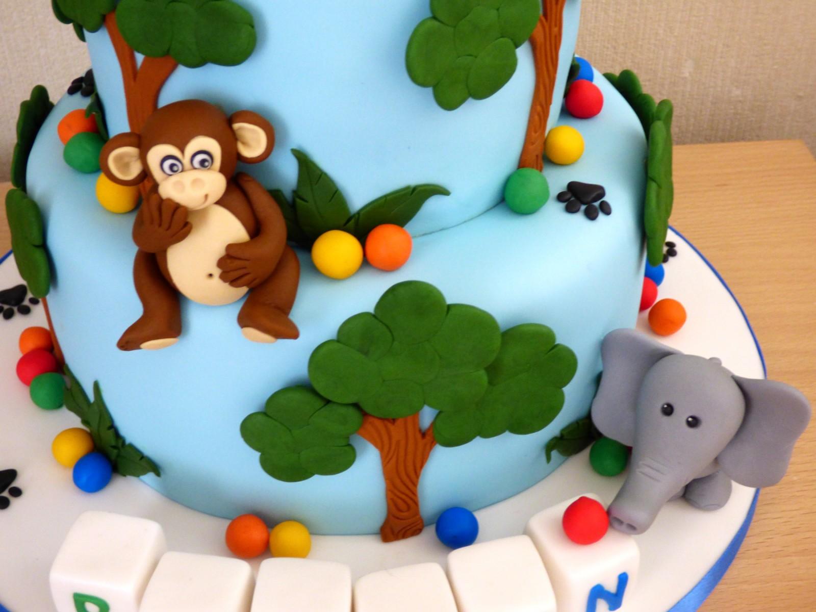 2 Tier Jungle Animal Themed 1st Birthday Cake Susies Cakes