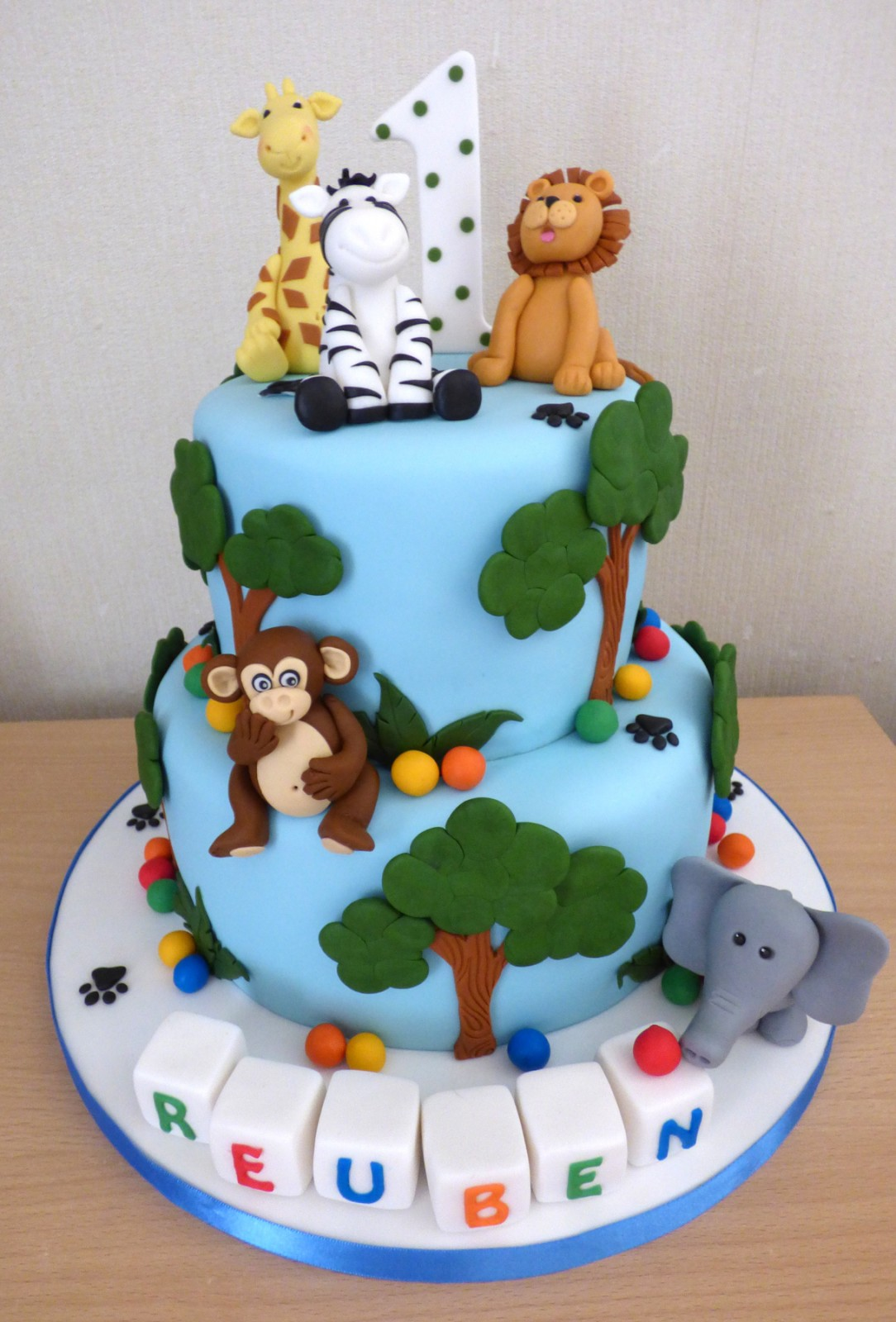 Awe Inspiring 2 Tier Jungle Animal Themed 1St Birthday Cake Susies Cakes Personalised Birthday Cards Veneteletsinfo