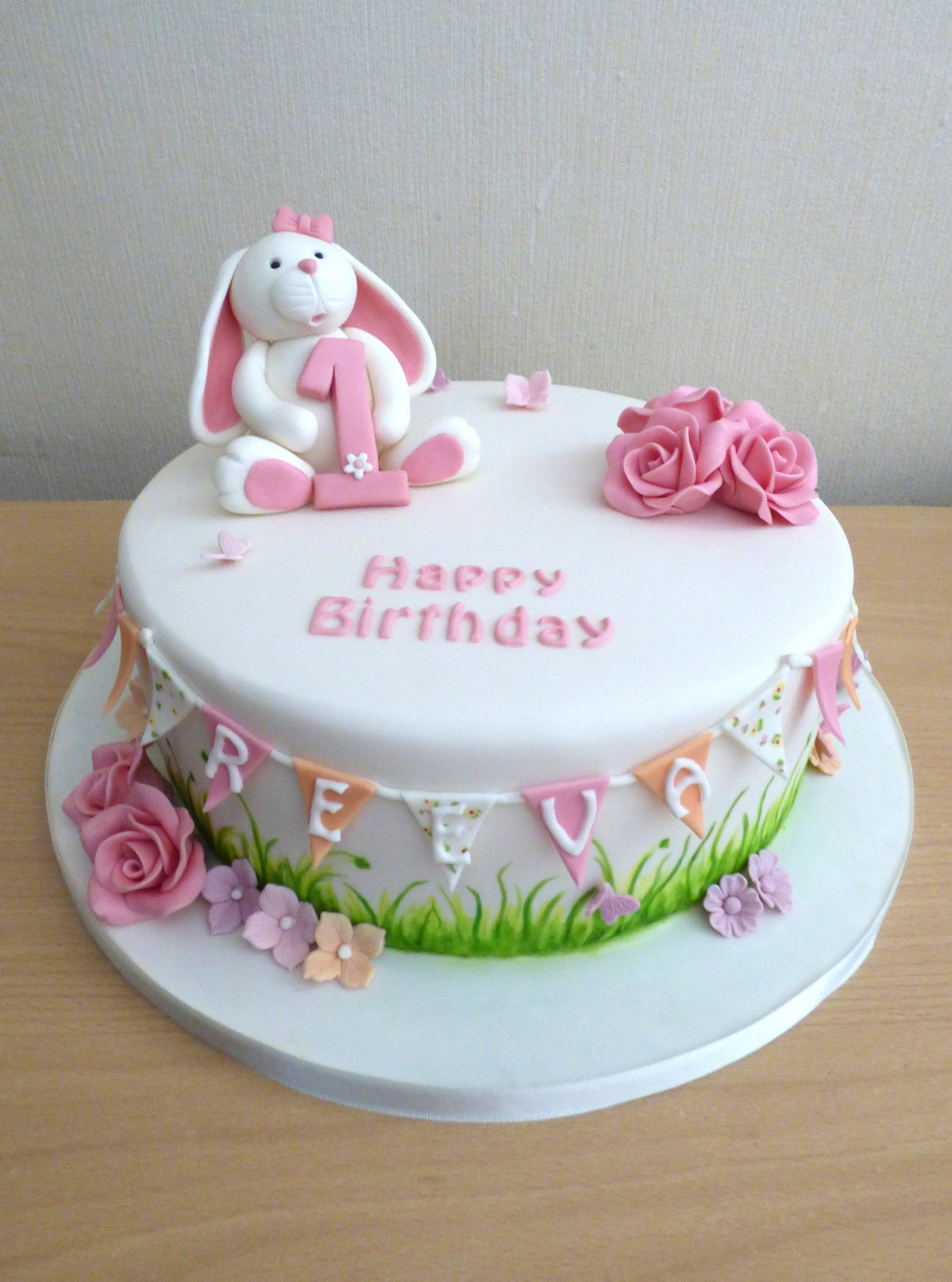 Peachy Cute Rabbit 1St Birthday Cake Susies Cakes Funny Birthday Cards Online Elaedamsfinfo