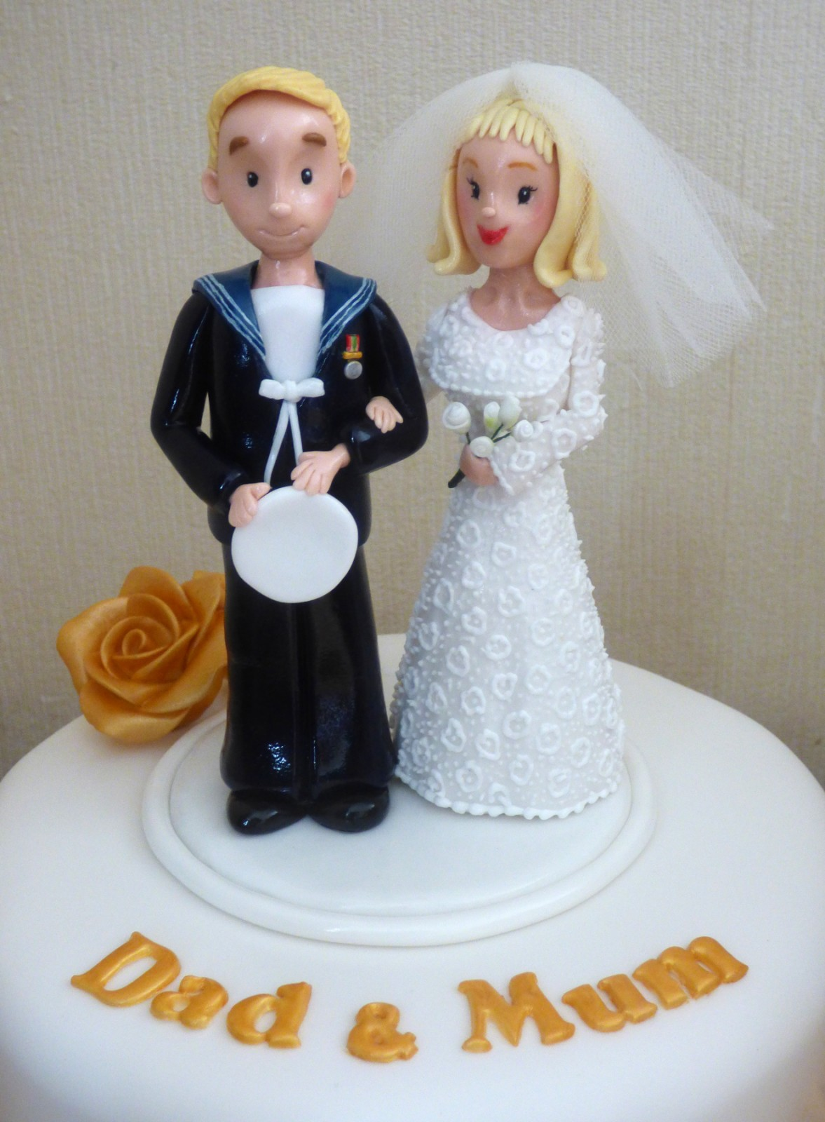 Golden Wedding Anniversary Cake With Bride And Groom Topper