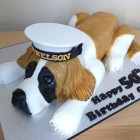 nautical st bernard dog birthday cake
