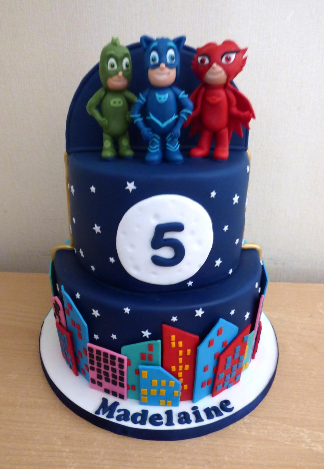 Admirable 2 Tier Half And Half Aladdin And Pj Masks Birthday Cake Susies Personalised Birthday Cards Arneslily Jamesorg