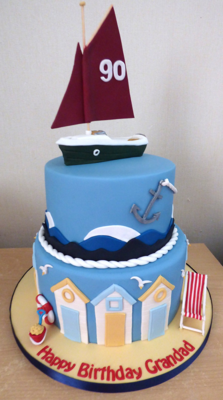 2 Tier Cornish Crabber Beach Birthday Cake