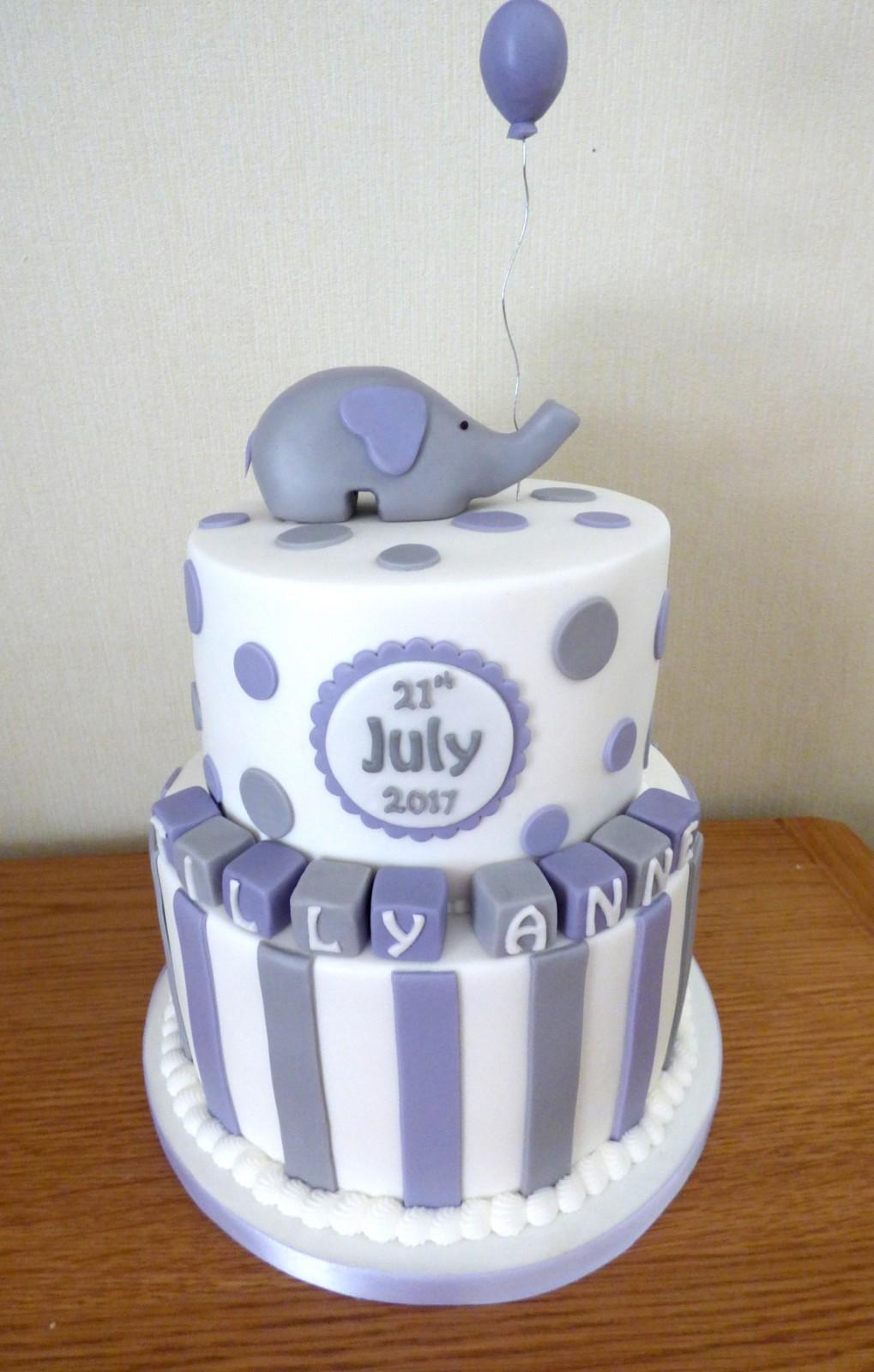2 Tier Elephant Christeningbirthday Cake Susies Cakes