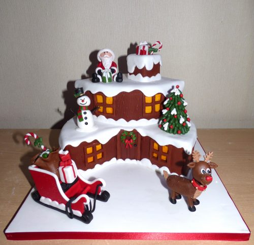 2-tier-log-cabin-themed-christmas-cake-santa-rudolph-sleigh-