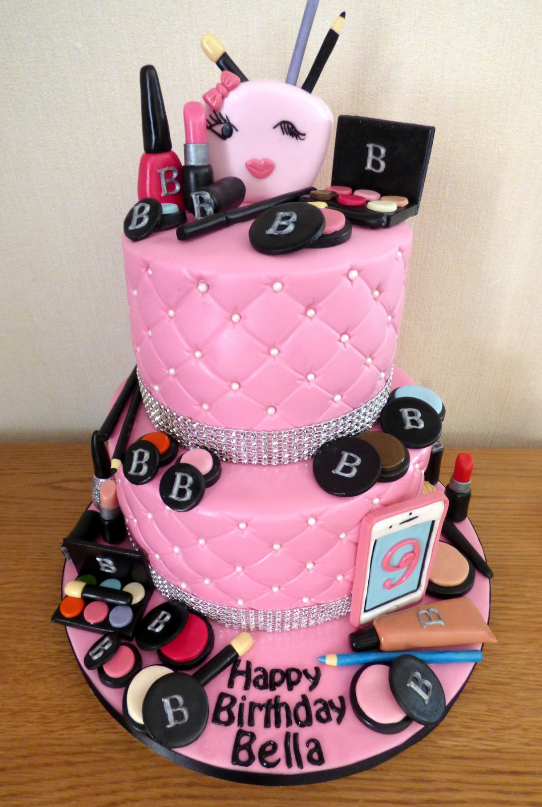 Super 2 Tier Make Up Themed Birthday Cake Susies Cakes Funny Birthday Cards Online Inifofree Goldxyz