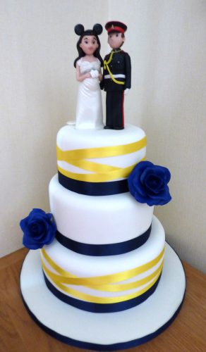 3-tier-navy-and-yellow-wedding-cake-with-personalised-topper