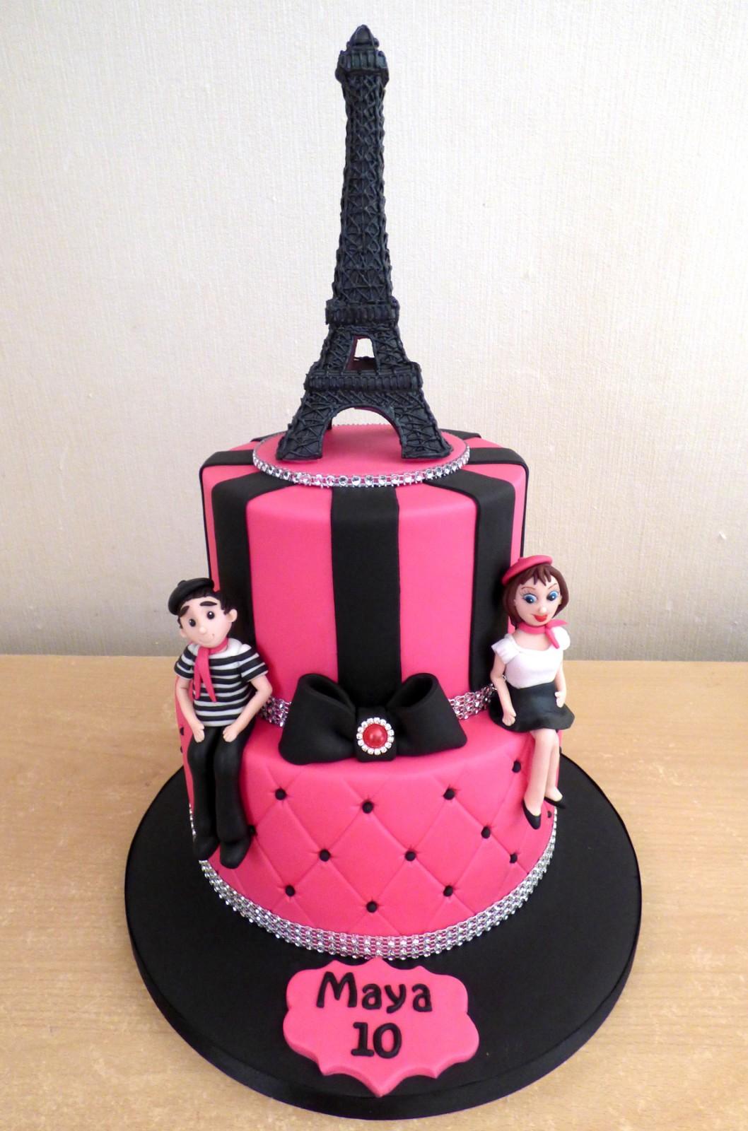 Awe Inspiring 2 Tier Paris Themed Birthday Cake Susies Cakes Funny Birthday Cards Online Alyptdamsfinfo