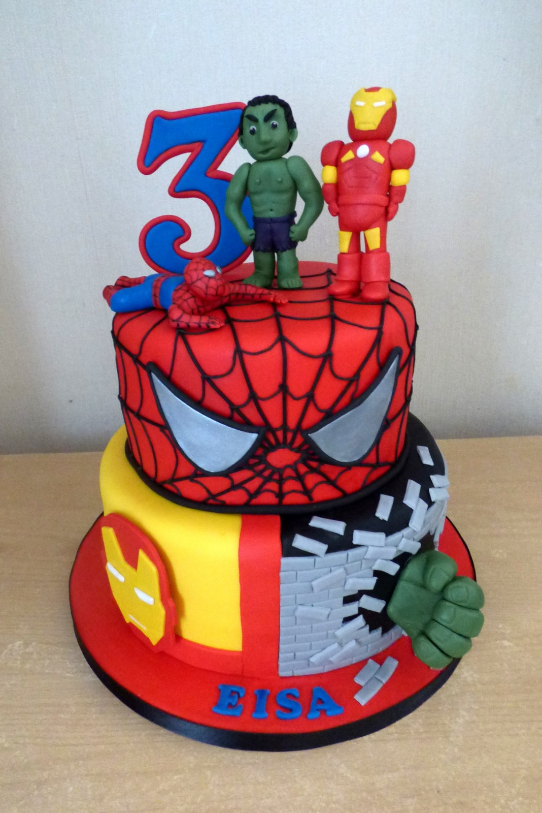 Stupendous 2 Tier Super Heroes Birthday Cake Susies Cakes Funny Birthday Cards Online Chimdamsfinfo