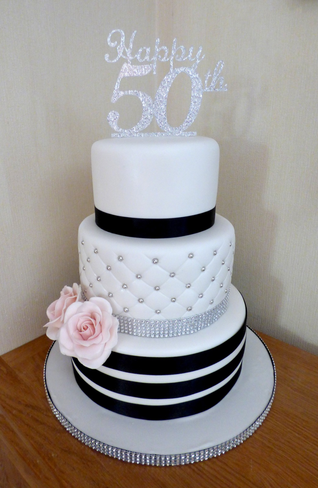 3 Tier Elegant Classic Black And White 50th Birthday Cake