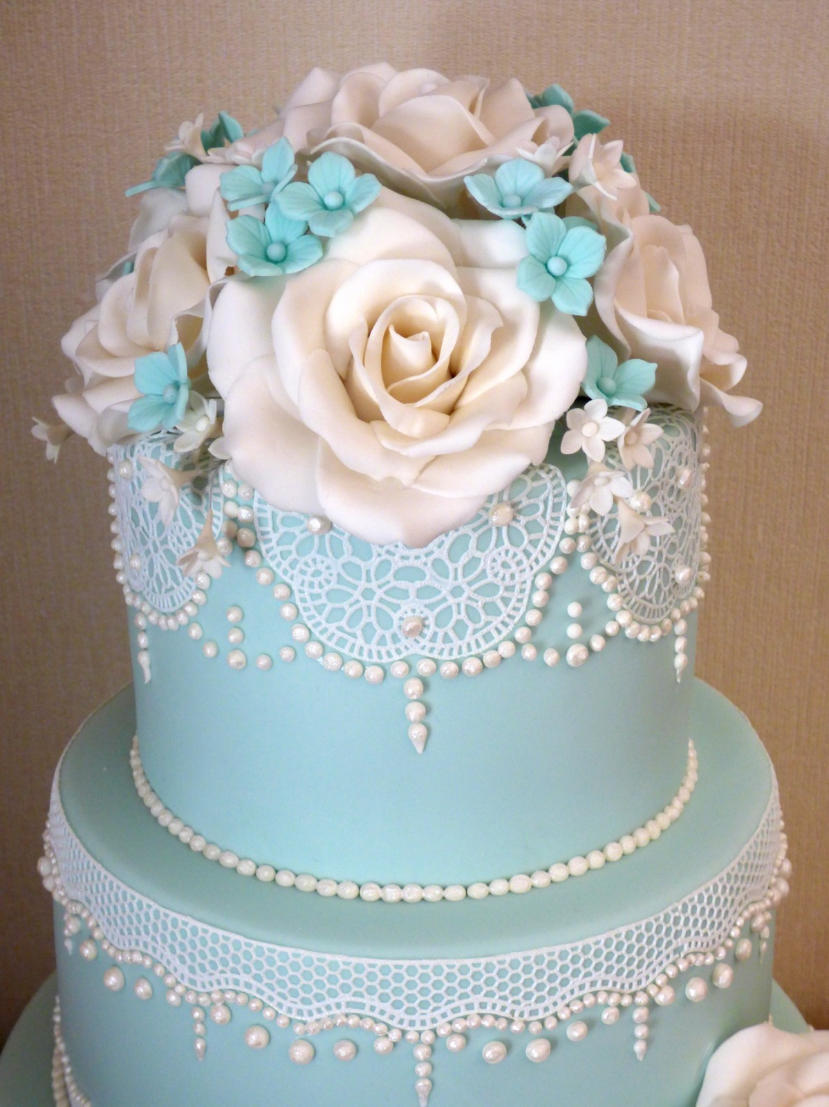 3 Tier Duck Egg Blue Elegant Lace Wedding Cake With White Sugar