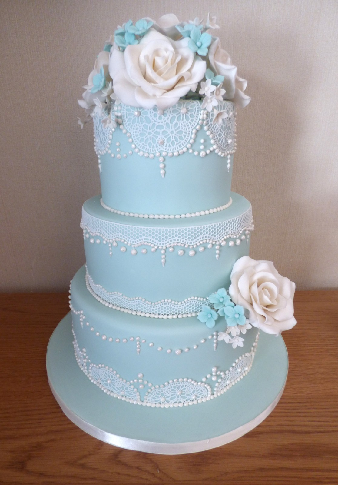3 Tier Duck Egg Blue Elegant Lace Wedding Cake With White