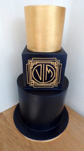 3-tier-gold-and-navy-wedding-cake-personalised