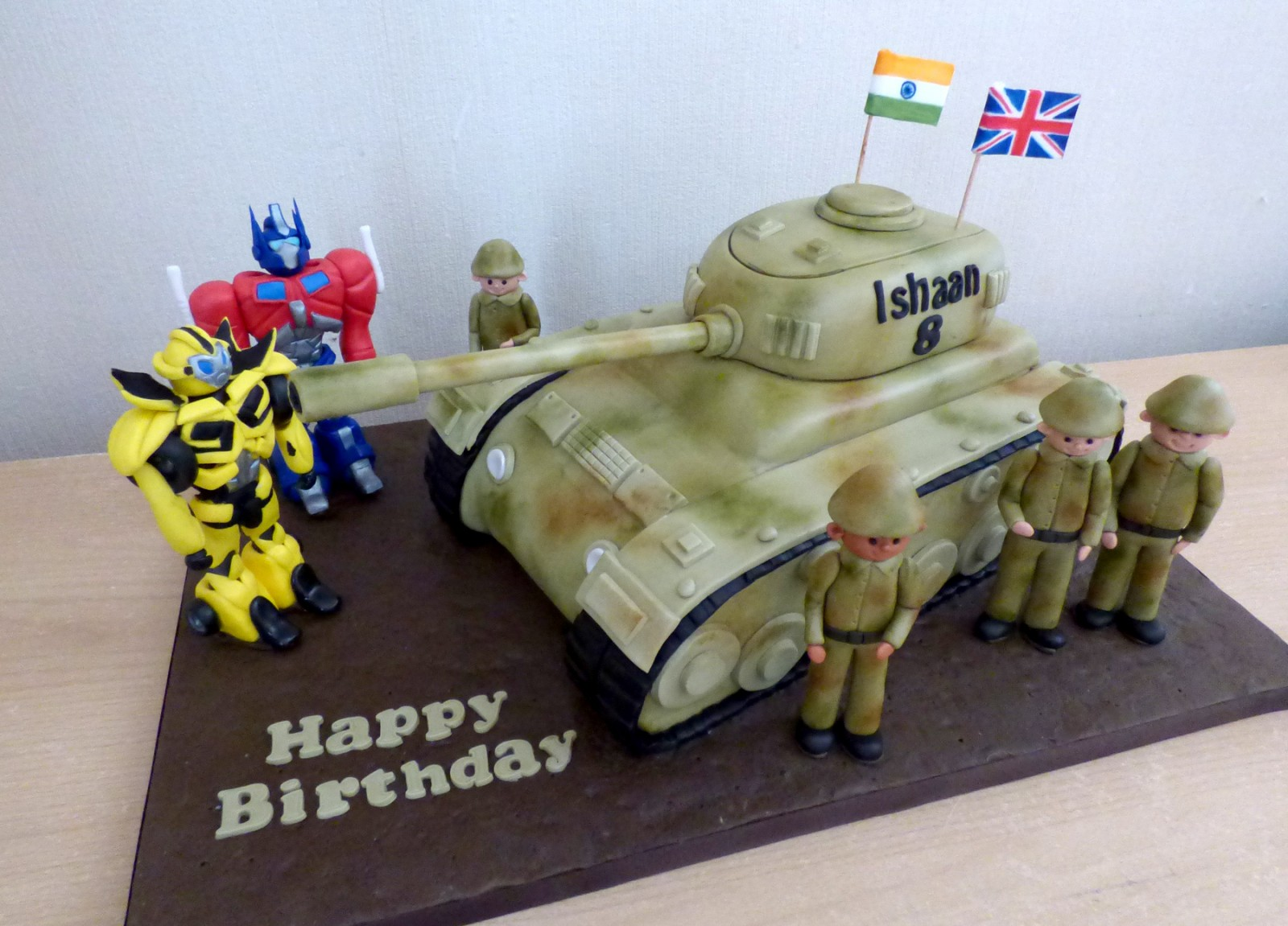 Fine British And Indian Army Tank Meets Transformers Susies Cakes Personalised Birthday Cards Paralily Jamesorg