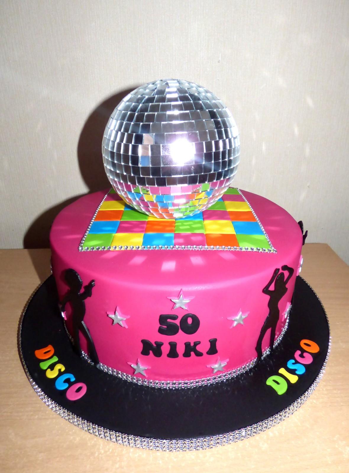 Enjoyable Disco Glitterball Cake Susies Cakes Funny Birthday Cards Online Hendilapandamsfinfo