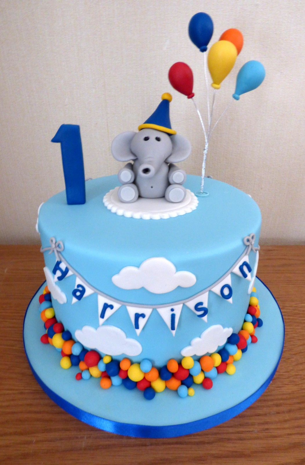 Admirable Elephant With Balloons 1St Birthday Cake Susies Cakes Personalised Birthday Cards Bromeletsinfo