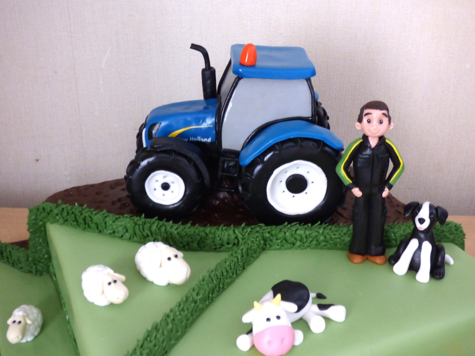 Fantastic Farmer With New Holland Tractor Birthday Cake Susies Cakes Funny Birthday Cards Online Unhofree Goldxyz