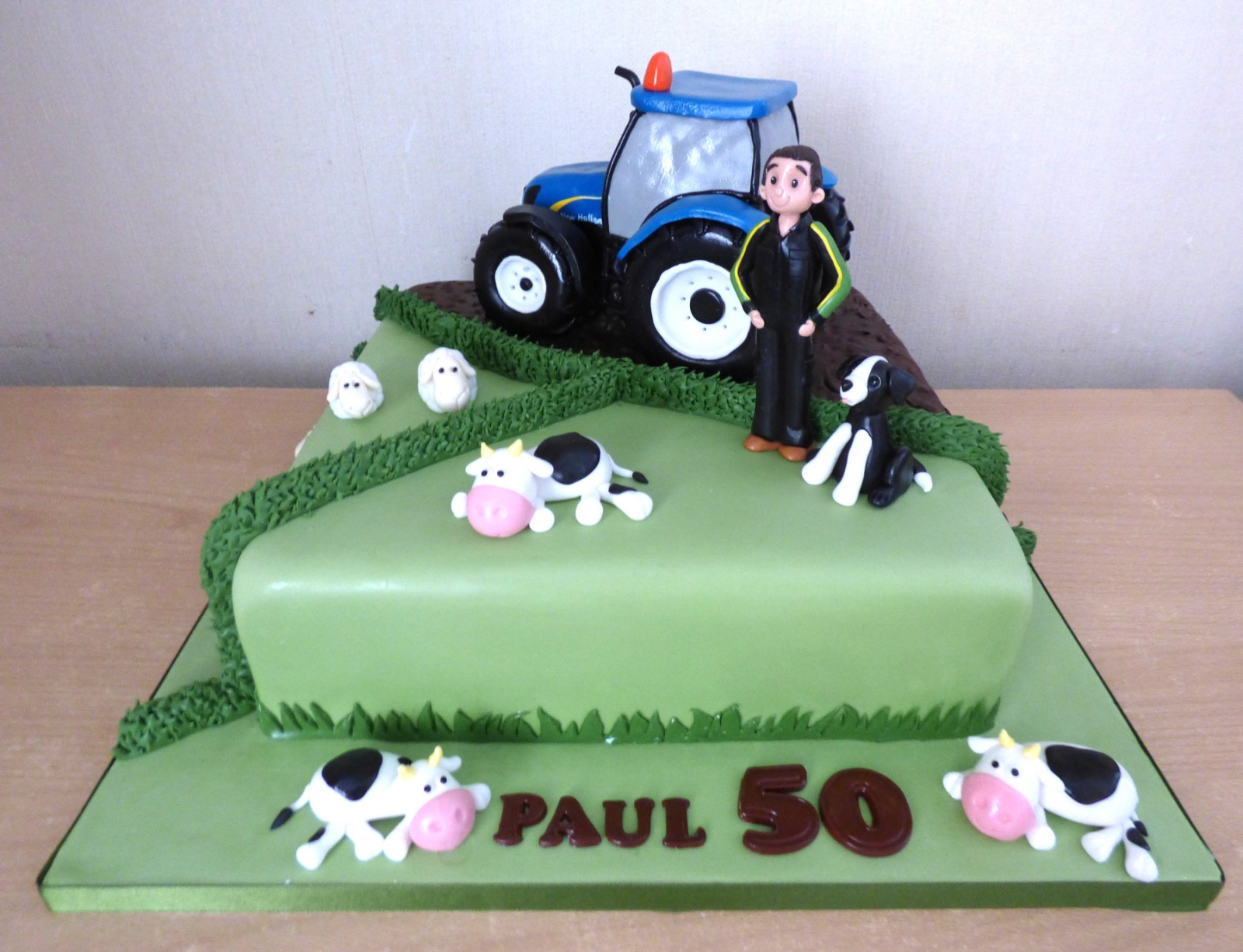 Awe Inspiring Farmer With New Holland Tractor Birthday Cake Susies Cakes Funny Birthday Cards Online Fluifree Goldxyz