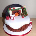 fireplace-themed-christmas-cake
