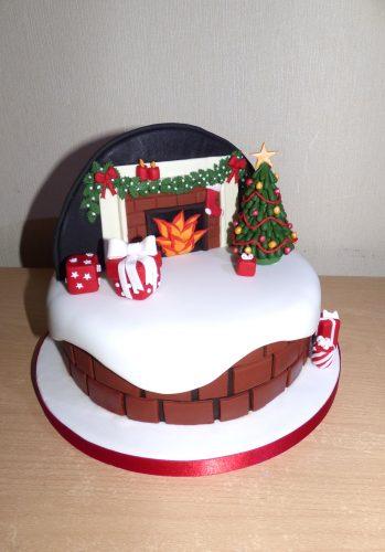 fireplace-themed-christmas-cake